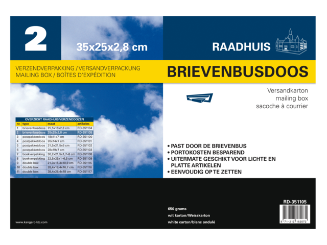Brievenbusbox raadhuis 250x28x350mm wit