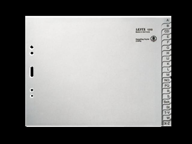 Ordneralfabet leitz 2-gaats 1212 karton 20-delig grijs