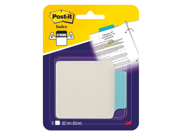Indextabs 3m post-it 687-p3 85.7mmx69.8mm tr blauw